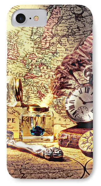 Old Maps And Ink Well Phone Case by Garry Gay