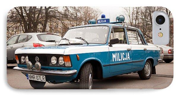 Old Militia Blue Car View IPhone Case by Arletta Cwalina