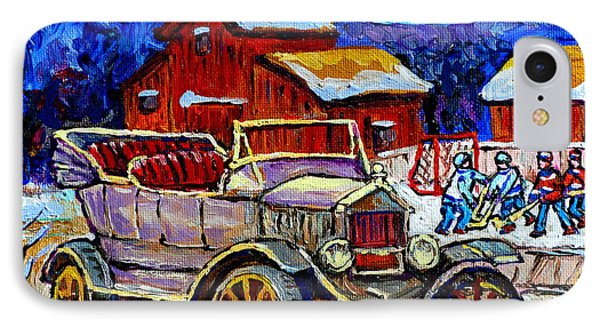Old Model T Car Red Barns Canadian Winter Landscapes Outdoor Hockey Rink Paintings Carole Spandau IPhone Case by Carole Spandau