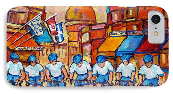 Old Montreal Bike Race Tour De L'ile Canadian Scene Painting Montreal Art Carole Spandau             IPhone Case by Carole Spandau