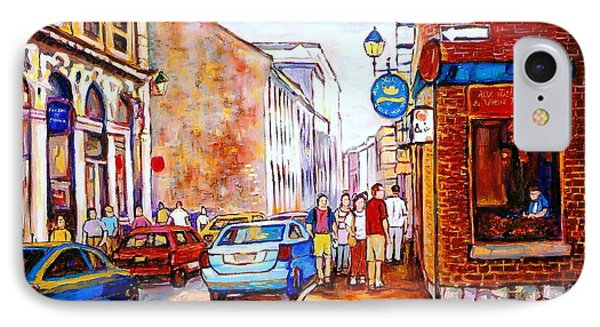 Old Montreal Paintings Calvet House And Restaurants Phone Case by Carole Spandau