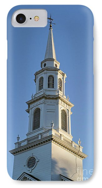 Old New England Church Steeple Concord IPhone Case by Edward Fielding