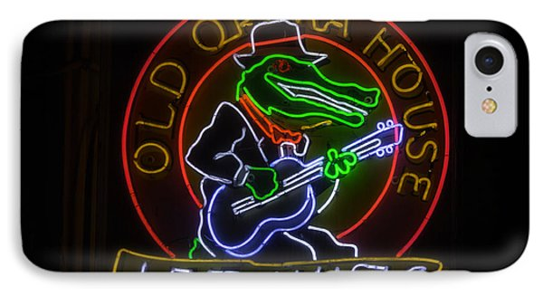 Old Opera House Neon Sign IPhone Case by Garry Gay