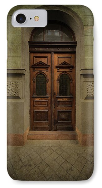 Old Ornamented Wooden Gate In Brown Tones IPhone Case by Jaroslaw Blaminsky