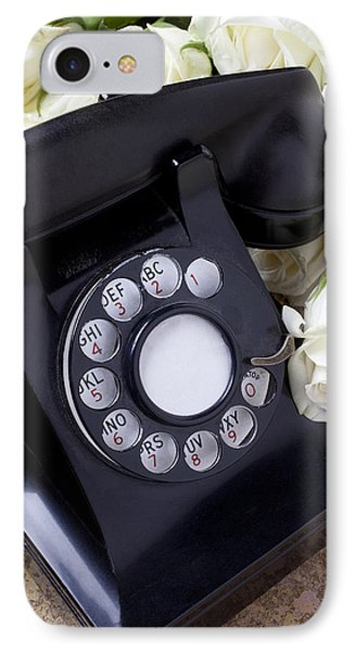 Old Phone And White Roses Phone Case by Garry Gay