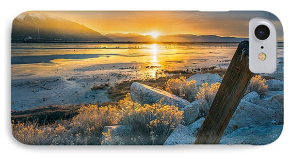 City Sunset iPhone 7 Case - Old Post At The Great Salt Lake by James Udall