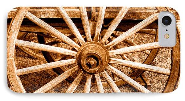Old Prairie Schooner Wheel - Sepia IPhone Case