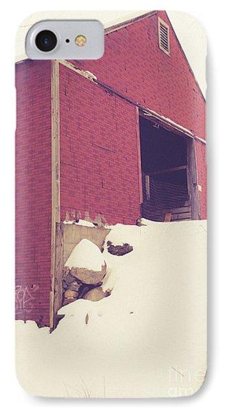 Old Red Barn In Winter Phone Case by Edward Fielding