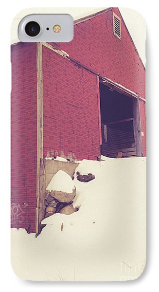 IPhone Case featuring the photograph Old Red Barn In Winter by Edward Fielding