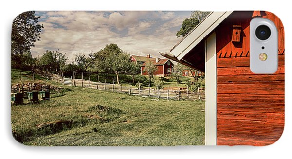 Old Red Farm Set In A Rural Nature Landscape IPhone Case by Christian Lagereek