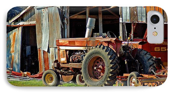 Old Red Tractor And The Barn Phone Case by Michael Thomas