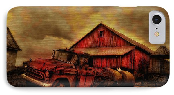 Old Red Truck And Barn Phone Case by Bill Cannon