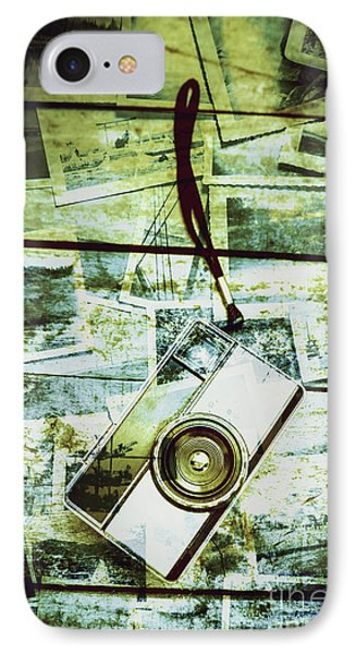 Old Retro Film Camera In Creative Composition IPhone Case by Jorgo Photography - Wall Art Gallery