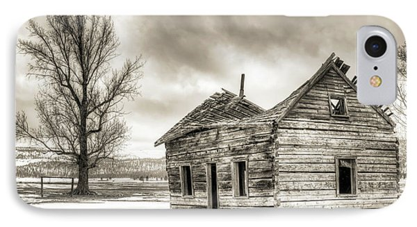 Old Rustic Log House In The Snow IPhone Case