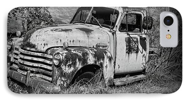 Old Rusty Chevy In Black And White IPhone Case by Paul Ward