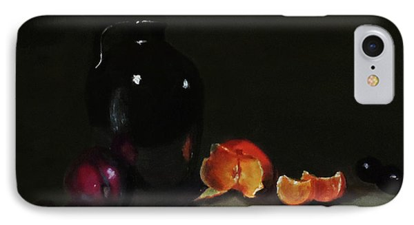 IPhone Case featuring the painting Old Sake Jug And Fruit by Barry Williamson