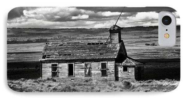 Old School House Bickelton Wa Black And White IPhone Case by Jeff Swan