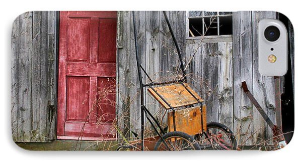 Old Shed Red Door And Pony Cart IPhone Case by Betty  Pauwels