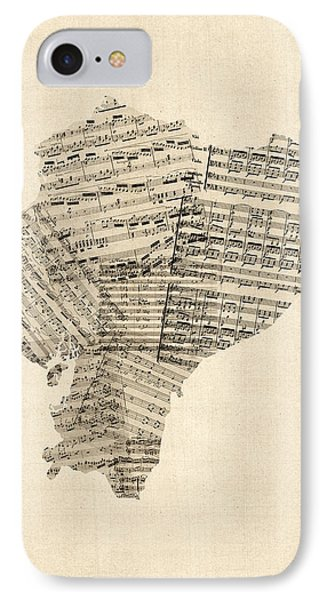 Old Sheet Music Map Of Ecuador Map IPhone Case by Michael Tompsett