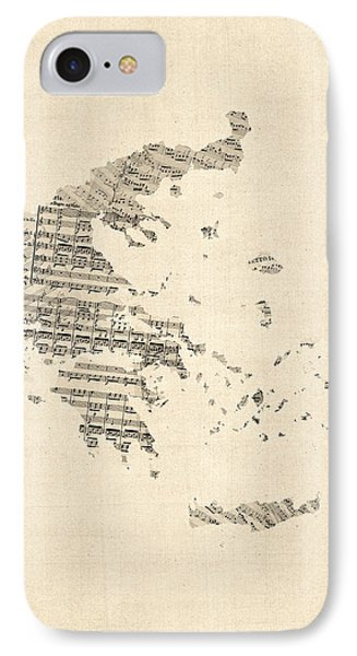 Old Sheet Music Map Of Greece Map IPhone Case by Michael Tompsett
