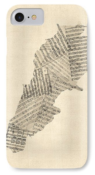 Old Sheet Music Map Of Lebanon IPhone Case by Michael Tompsett