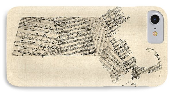 Old Sheet Music Map Of Massachusetts IPhone Case by Michael Tompsett