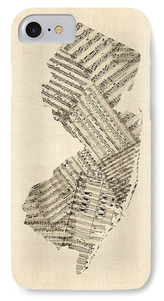 Old Sheet Music Map Of New Jersey Phone Case by Michael Tompsett