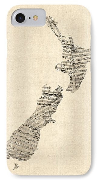 Old Sheet Music Map Of New Zealand Map IPhone Case