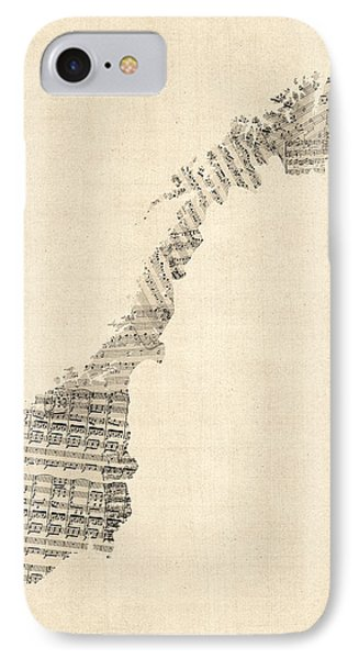 Old Sheet Music Map Of Norway IPhone Case by Michael Tompsett