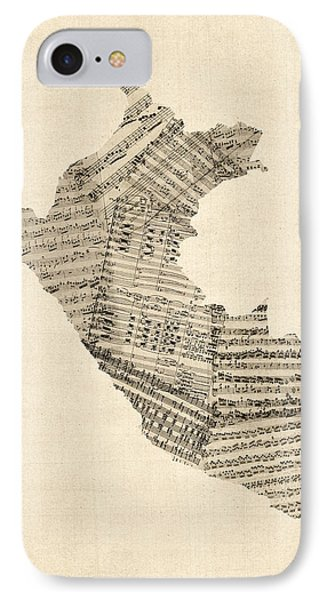 Old Sheet Music Map Of Peru Map IPhone Case by Michael Tompsett