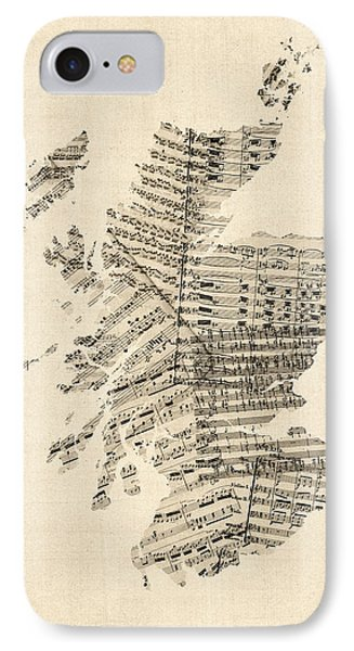 Old Sheet Music Map Of Scotland IPhone Case by Michael Tompsett