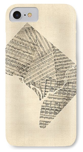 Old Sheet Music Map Of Washington Dc IPhone Case