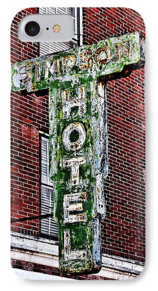 Old Simpson Hotel Sign Phone Case by Christopher Holmes