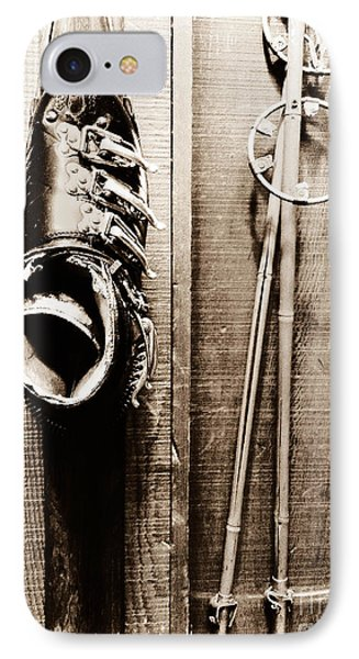 Old Ski Boot And Pole IPhone Case by Amy Fearn