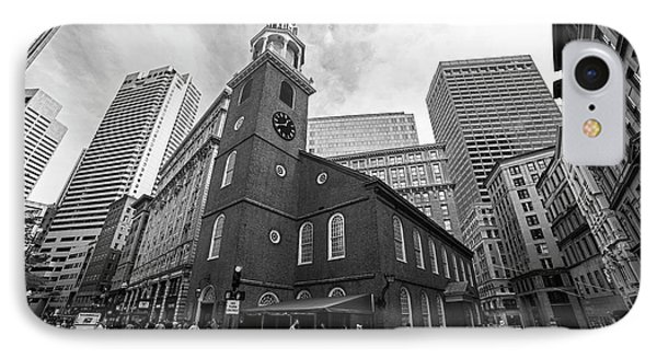 Old South Meeting House Boston Ma Black And White IPhone Case by Toby McGuire