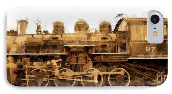 Old Steam Engine Locomotive Watercolor IPhone Case by Edward Fielding