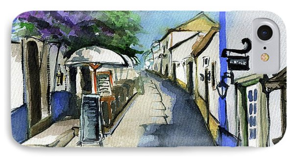 IPhone Case featuring the painting Old Street In Obidos, Portugal by Dora Hathazi Mendes