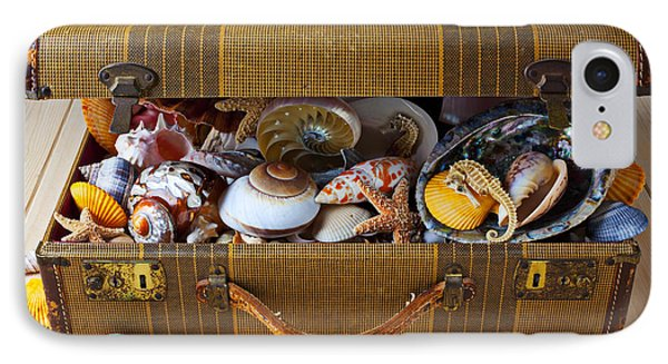 Old Suitcase Full Of Sea Shells IPhone Case by Garry Gay