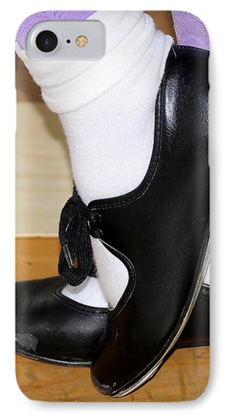 Old Tap Dance Shoes With White Socks And Wooden Floor IPhone Case