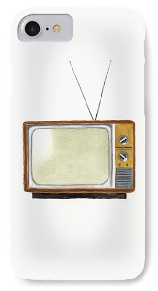 Old Television Set IPhone Case by Michael Vigliotti