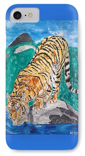 Old Tiger Drinking IPhone Case by Valerie Ornstein
