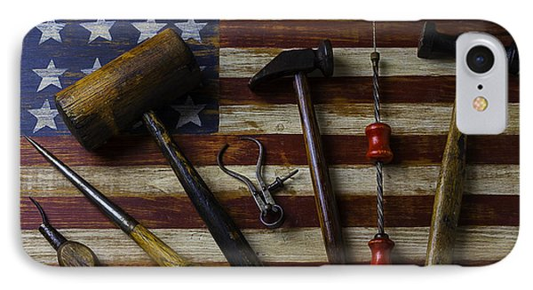 Old Tools On Wooden Flag IPhone Case by Garry Gay