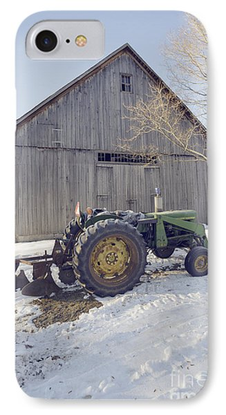Old Tractor By The Barn IPhone Case by Edward Fielding