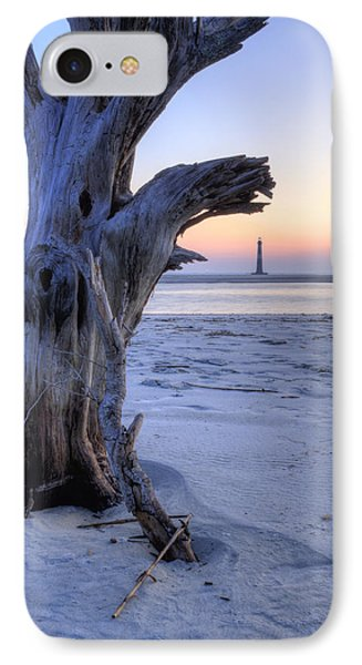 Old Tree And Morris Island Lighthouse Sunrise IPhone Case by Dustin K Ryan