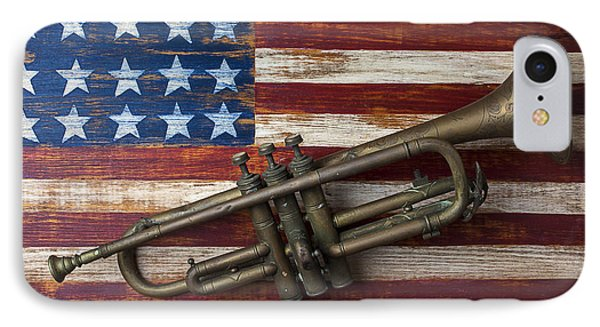 Old Trumpet On American Flag IPhone Case by Garry Gay