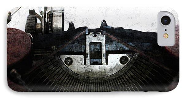 Old Typewriter Machine In Grunge Style IPhone Case by Michal Boubin
