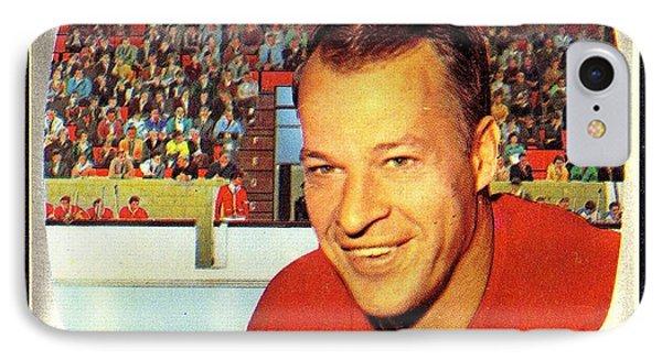 Old Vintage Gordie Howe Hockey Card Collectable IPhone Case by Pd