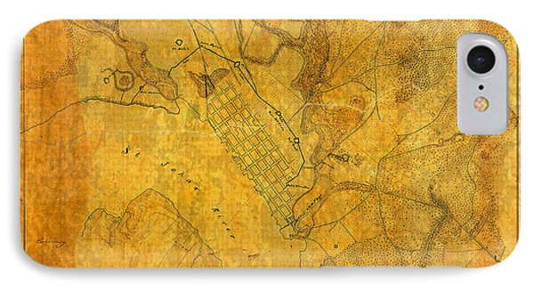 Old Vintage Map Of Jacksonville Florida Circa 1864 Civil War On Worn Distressed Parchment IPhone Case by Design Turnpike