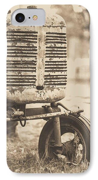 IPhone Case featuring the photograph Old Vintage Tractor Brown Toned by Edward Fielding