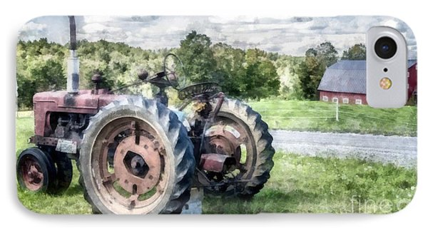 Old Vintage Tractor On The Farm IPhone Case by Edward Fielding
